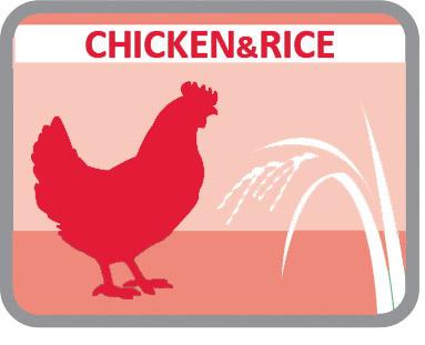 Rico en proteínas provenientes del pollo y con arroz